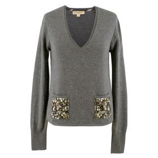 Burberry Silk & Wool Blend Embellished Pocket V-Neck Jumper