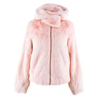 Snowxue Pink Cropped Mink Fur Jacket