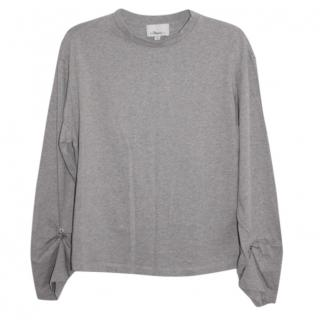 Phillip Lim Long-Sleeve Split-Back Cotton Top