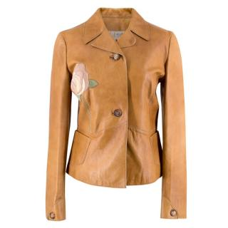Marni Rose Applique Tan Leather Jacket
