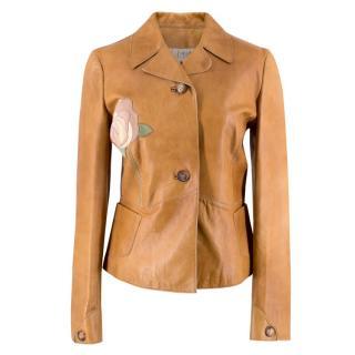 Marni Rose Applique Tan Leather Jacket