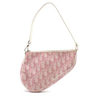 Dior Pink & White Monogram Saddle Bag
