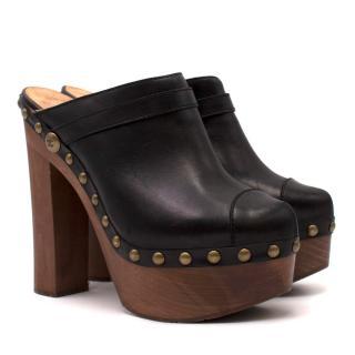 Chanel Black Platform Mules