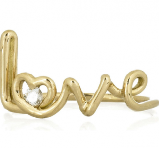 Solange Azagury-Partridge 18ct Gold Diamond Love Ring