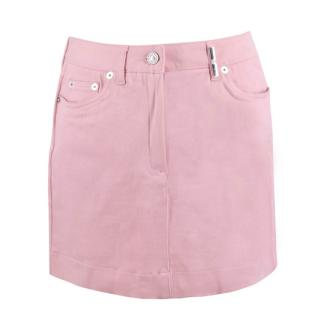 Kenzo Baby Pink High-Waisted Denim Mini Skirt