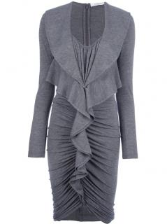 Givenchy grey ruched ruffle dress