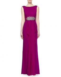 Marchesa Notte Cascading Drape-Front Gown