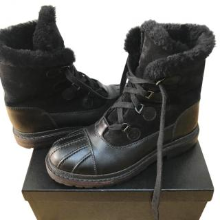 Chanel Leather & Shearling Boots