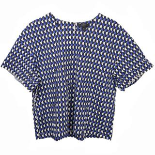 J. Crew Geo Cropped Blue Top