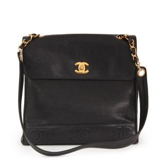 Chanel Vintage Caviar Leather Classic Black Shoulder Bag