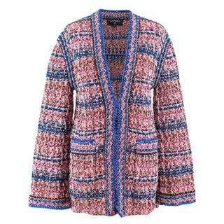 Chanel Pink and Blue Knit Tweed Cardigan