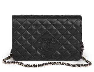 Chanel Quilted Lambskin Black Diamond CC Wallet on Chain