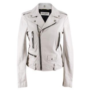 Saint Laurent White Leather Jacket