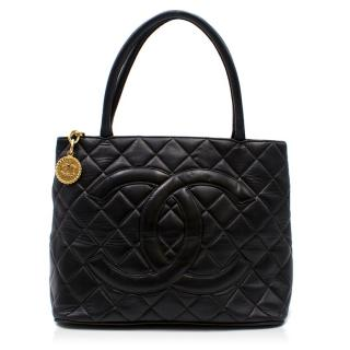 Chanel Quilted Black Medallion Tote Bag