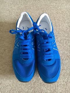 Armani Exchange Men's Blue Retro Logo Sneakers