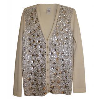 Blumarine Cashmere & Wool Embellished Cardigan