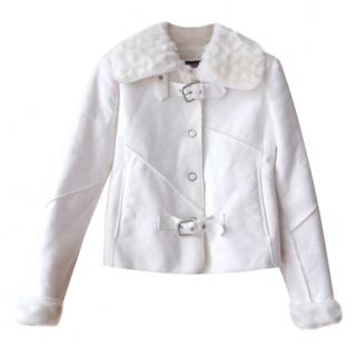 Armani Jeans  Ivory Shearling and Faux Fur Biker Jacket