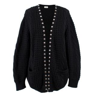 Saint Laurent Black Studded Wool Blend Cardigan - Current Season