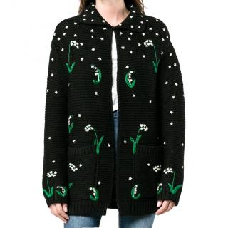 Valentino Black Wool Embroidered Floral Cardigan