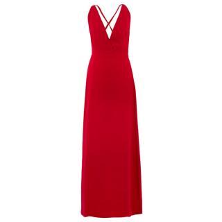 Valentino Red Silk V-Neck Gown