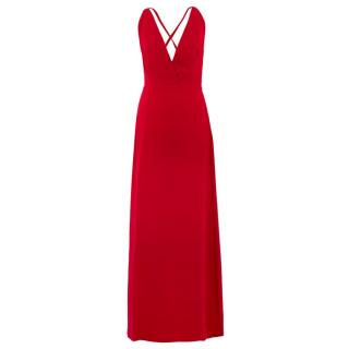 Valentino Red Silk V-Neck Gown