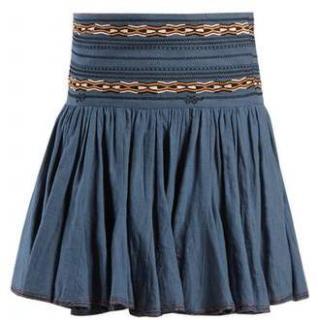 Isabel Marant Etoile Blue Breeda Embroidered Skirt