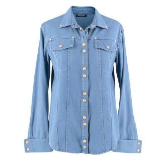 Balmain Blue Studded Denim Shirt