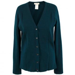 Celine Dark Green Wool Cardigan