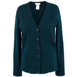 Celine Dark Green Wool Cardigan