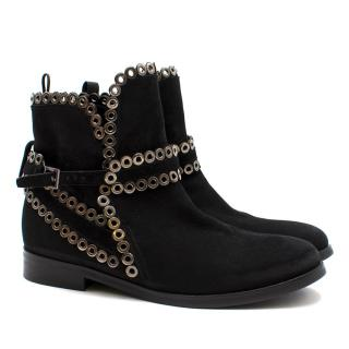 Alaia Black Suede Eyelet Chelsea Boots