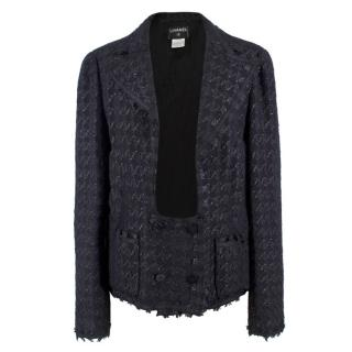 Chanel Black Knit Tweed Open Jacket