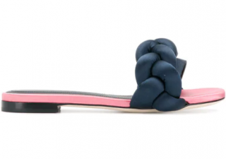Marco De Vincenzo Pink & Navy Braided Slides