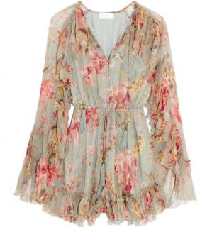 Zimmermann Mercer Ruffled Floral Print Silk Chiffon Playsuit