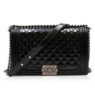 Chanel Patent Black Large Boy Bag