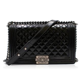 Chanel Patent Black Large Boy Bag