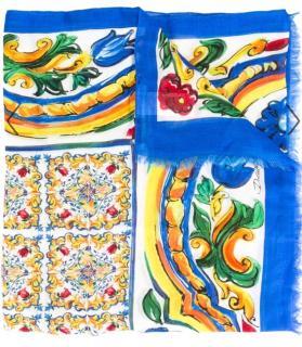 Dolce & Gabbana Sicily Majolica print cashmere scarf