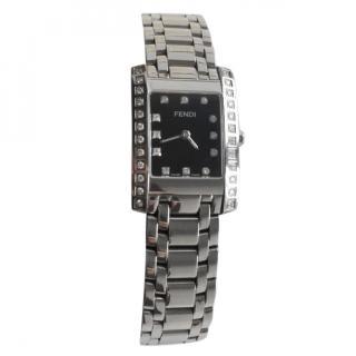 Fendi Loop Rectangle Diamond Watch