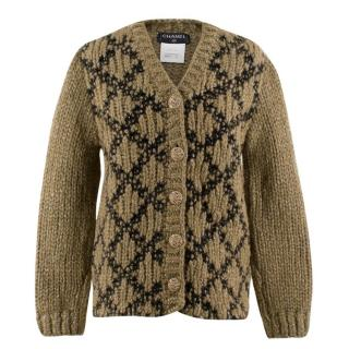 Chanel Chunky Knit Mohair-blend Metallic Detail Cardigan