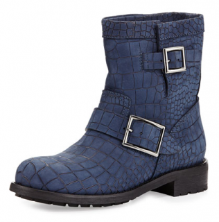 Jimmy Choo Youth Croc-Embossed Boots