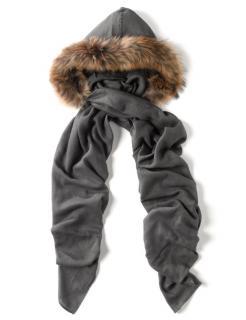 Charlotte Simone Grey Fur Hooded Scarf