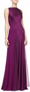 Donna Karan Satin Purple Cowl Back Gown