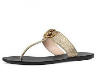 Gucci Marmont logo embellished metallic textured leather sandals