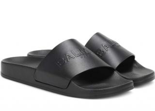 Balmain Logo Leather Slides