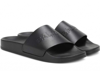Balmain Logo Leather Slides