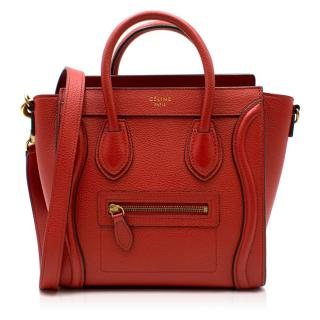 Celine Red Nano Luggage Bag