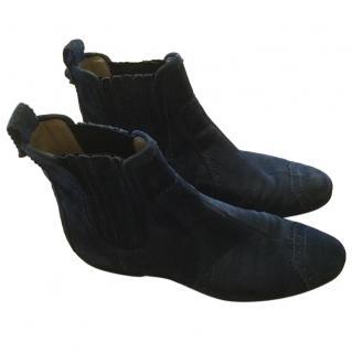 Balenciaga Blue Suede Chelsea Boots