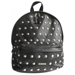 Versus Versace Studded Black Leather Backpack