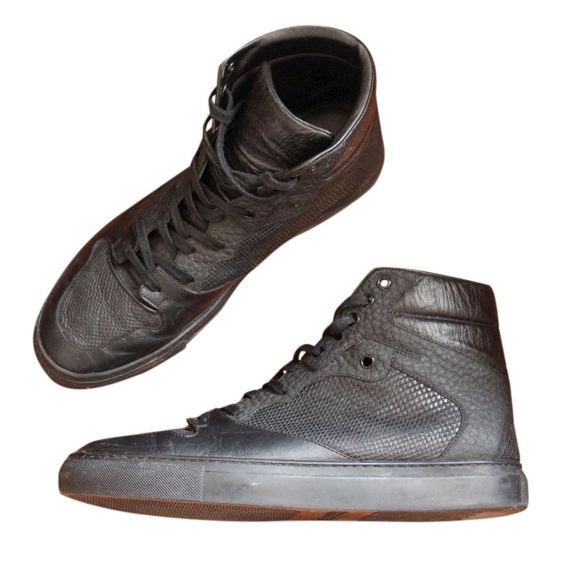 Balenciaga Black High Top Sneakers   HEWI