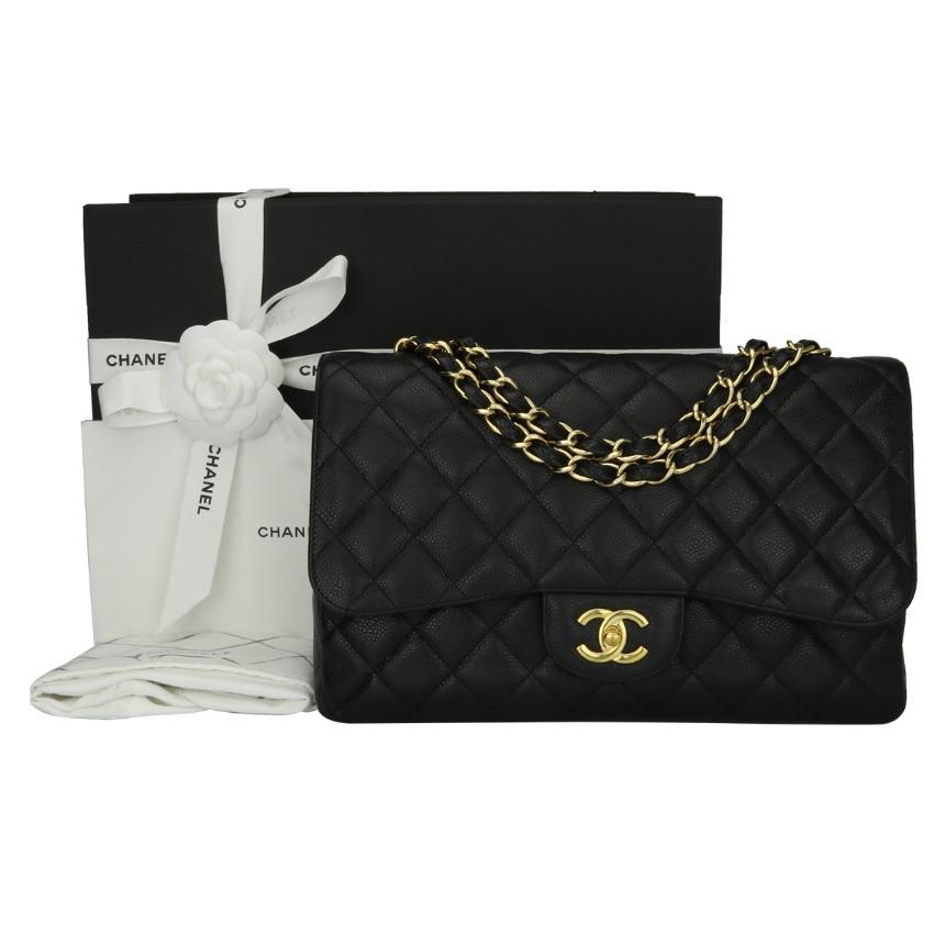 480b57bf4c08 Chanel Single Classic Flap Jumbo Black Caviar Bag | HEWI London
