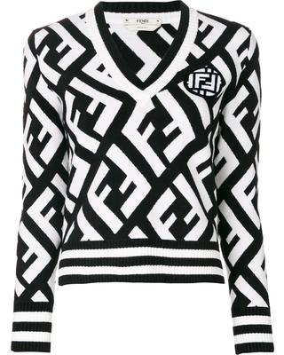 3db7cb01 Fendi Wool Blend Logo V-Neck Sweater